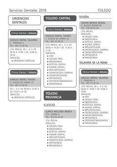 Cuadro médico Adeslas Dental Familia Toledo