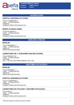 Cuadro médico Asefa Álava