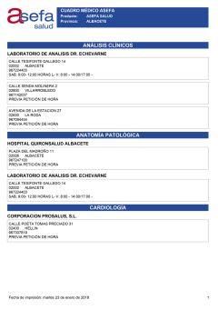 Cuadro médico Asefa Albacete