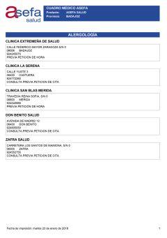 Cuadro médico Asefa Badajoz