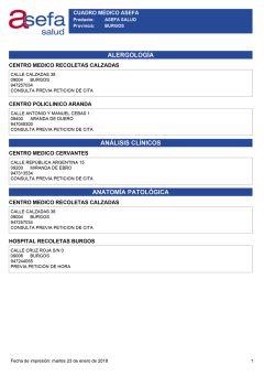 Cuadro médico Asefa Burgos