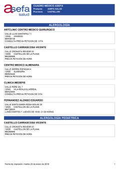 Cuadro médico Asefa Castellón