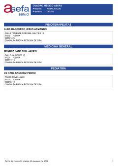 Cuadro médico Asefa Ceuta