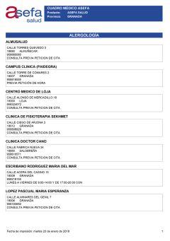Cuadro médico Asefa Granada