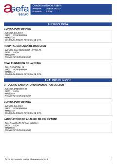 Cuadro médico Asefa León