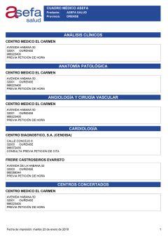Cuadro médico Asefa Ourense