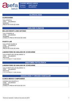 Cuadro médico Asefa Salamanca