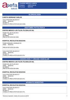 Cuadro médico Asefa Segovia