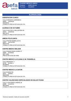 Cuadro médico Asefa Valencia