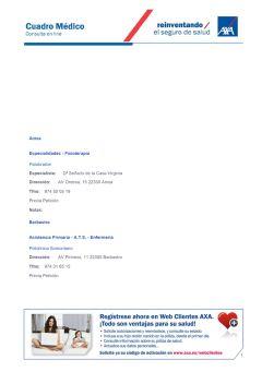 Cuadro médico AXA Huesca