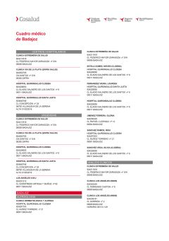 Cuadro médico Cosalud Badajoz