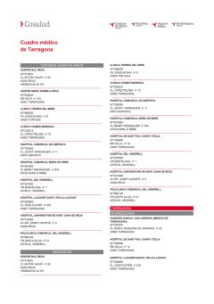 Cuadro médico Cosalud Tarragona