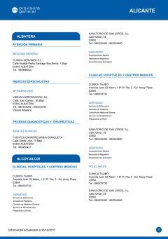 Cuadro médico Previsora General Alicante