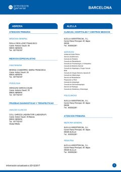 Cuadro médico Previsora General Barcelona