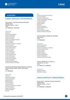 Cuadro médico Previsora General Cádiz