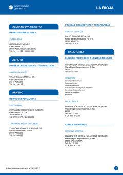 Cuadro médico Previsora General La Rioja