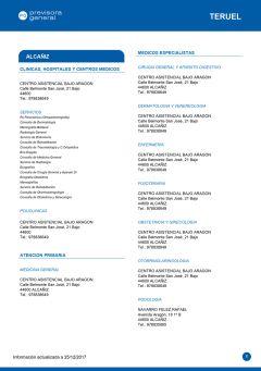 Cuadro médico Previsora General Teruel