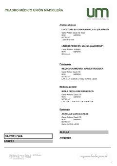 Cuadro médico Unión Madrileña Barcelona