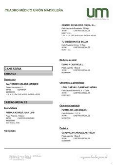 Cuadro médico Unión Madrileña Cantabria