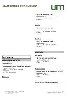 Cuadro médico Unión Madrileña Castellón