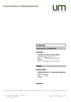 Cuadro médico Unión Madrileña Córdoba