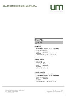Cuadro médico Unión Madrileña Granada