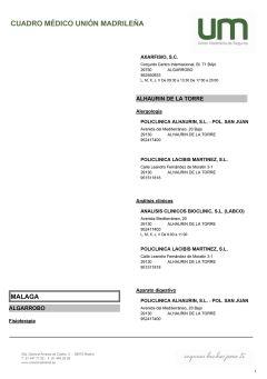 Cuadro médico Unión Madrileña Málaga
