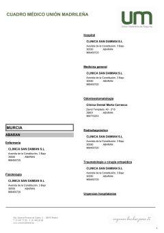 Cuadro médico Unión Madrileña Murcia