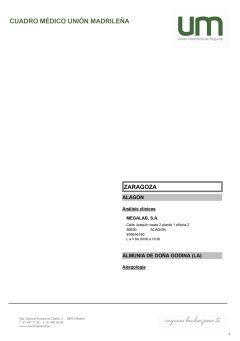 Cuadro médico Unión Madrileña Zaragoza